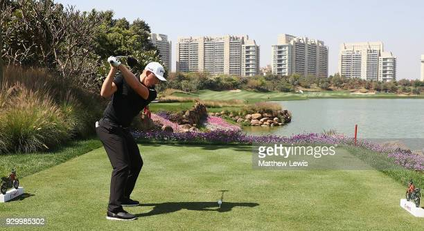 Matt Wallace of England tees off on the 8th hole during day three of the Hero Indian Open at Dlf Golf and Country Club on March 10 2018 in New Delhi...