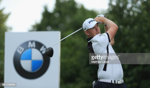 Matt Wallace of England tees off on the 9th hole during day two of the BMW International Open at Golf Club Gut Larchenhof on June 22 2018 in Cologne...