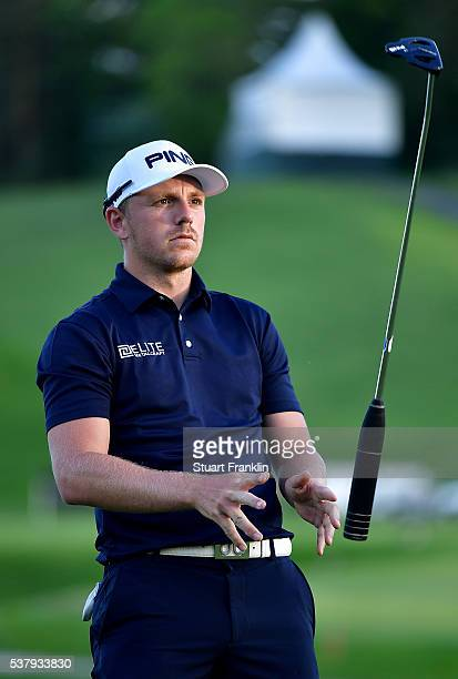 Matt Wallace of England throws his club in the air during the second round on day two of the Nordea Masters at Bro Hof Slott Golf Club on June 3 2016...