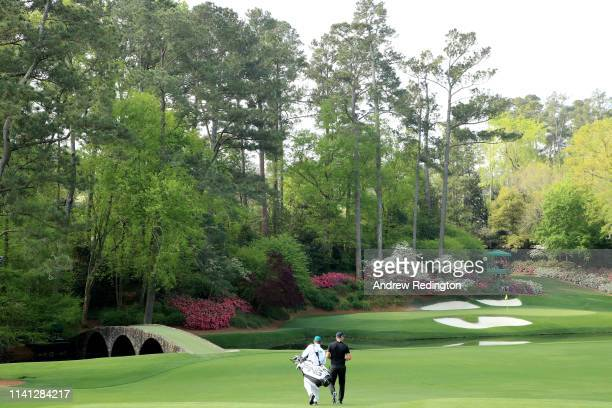 Matt Wallace of England walks on the 12th hole during a practice round prior to The Masters at Augusta National Golf Club on April 08 2019 in Augusta...