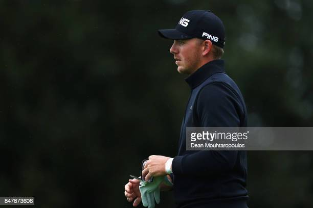 Matt Wallace of England walks on the 1st hole from the bushes during day 3 of the European Tour KLM Open held at The Dutch on September 16 2017 in...