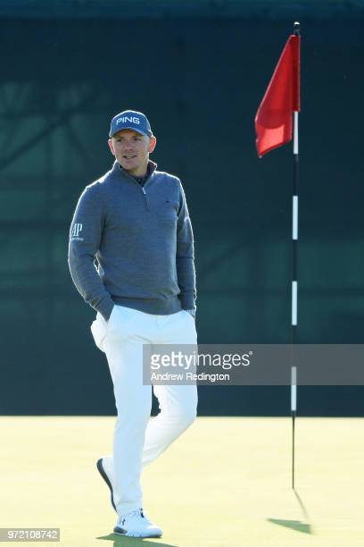 Matt Wallace of England walks on the practice ground prior to the 2018 US Open at Shinnecock Hills Golf Club on June 12 2018 in Southampton New York