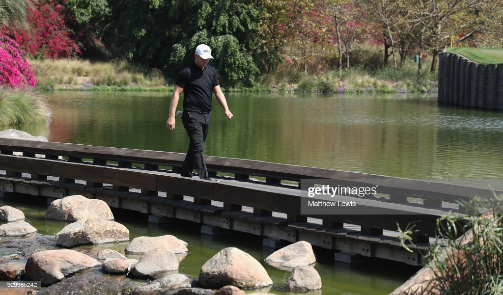 Matt Wallace of England walks to the 8th tee during day three of the Hero Indian Open at Dlf Golf and Country Club on March 10, 2018 in New Delhi, India.