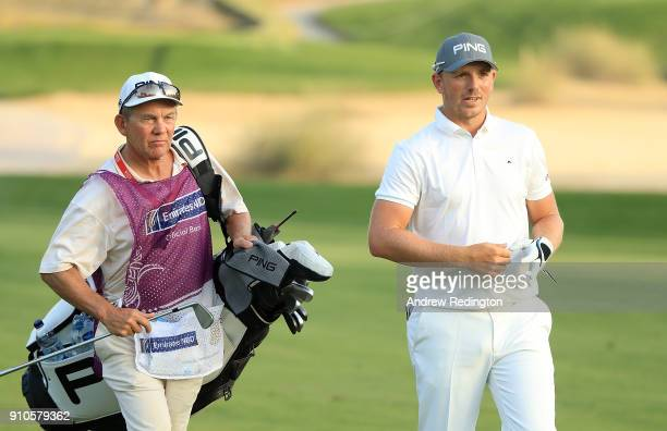 Matt Wallace of England walks up the 16th hole during round two of the Omega Dubai Desert Classic at Emirates Golf Club on January 26 2018 in Dubai...