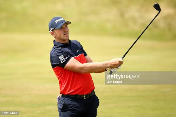Matt Wallace of England watches his second shot on the 1st hole during day one of the Dubai Duty Free Irish Open at Ballyliffin Golf Club on July 5...