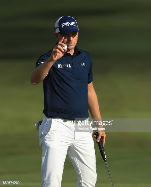 Matt Wallace of England waves to the crowd on the 18th hole on day three of the Open de Portugal at Morgado Golf Resort on May 13 2017 in Portimao...