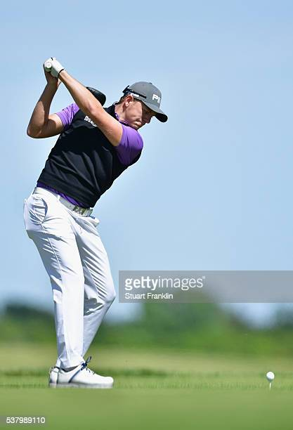 Matt Wallace plays a shot on the second hole during the third round on day three of The Nordea Masters at Bro Hof Slott Golf Club on June 4 2016 in...