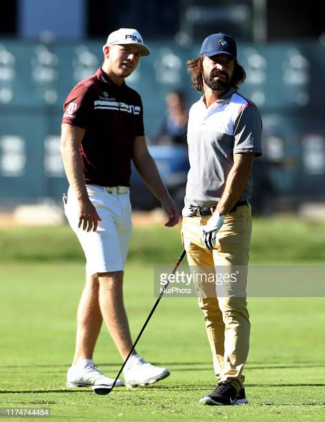 Matt Wallace with his teammate former italian football player Andrea Pirlo during the Rolex Pro Am at Golf Italian Open in Rome Italy on October 9...