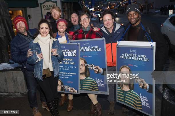 Matt Walsh Emmy Rossum Domhnall Gleeson Thomas Lennon and Jon Daly from Netflix's upcoming film 'A Futile And Stupid Gesture' pose for a photo with...