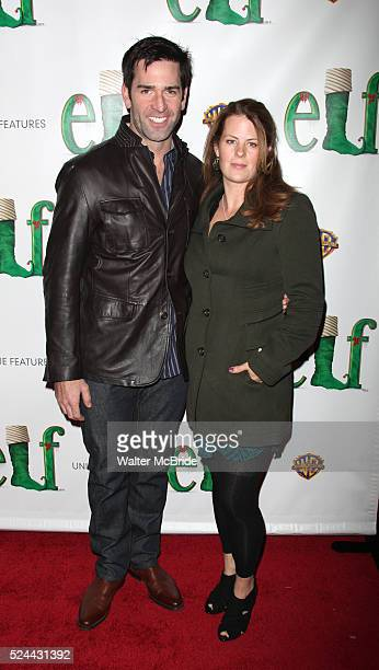 Matt Walton from the soap opera 'One Life To Live' and his wife Alecia Hurst arrives at the Opening Night Performance of Elf at The Al Hirschfeld...