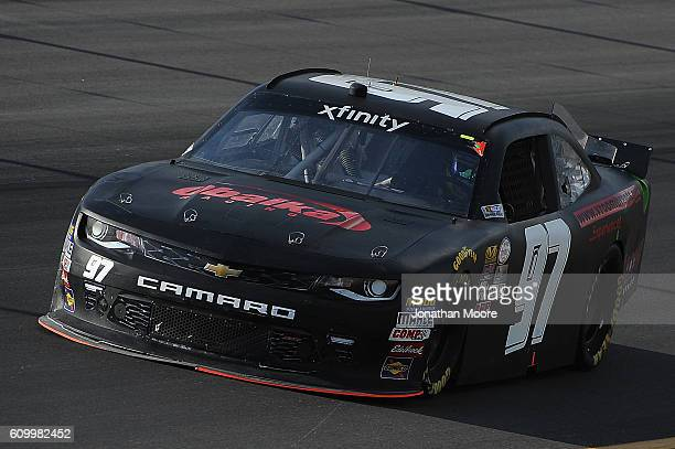 Matt Waltz driver of the VroomBrands Chevrolet on track during practice for the NASCAR XFINITY Series VysitMyrtleBeachcom 300 at Kentucky Speedway on...