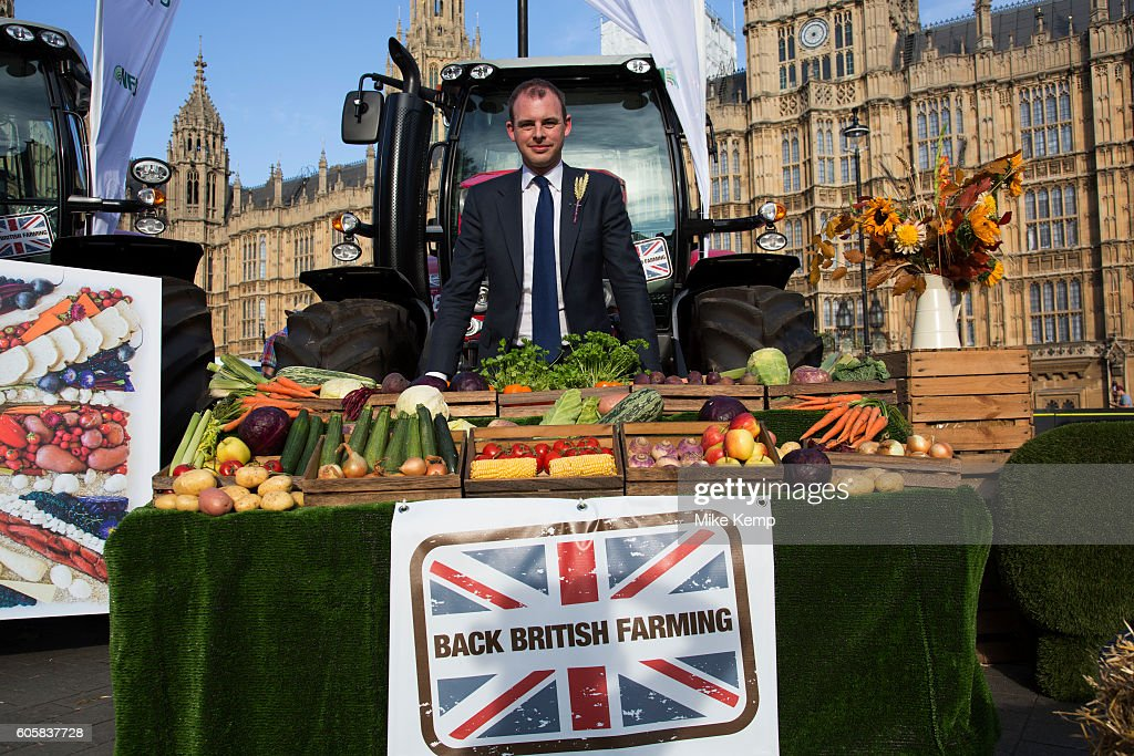 Matt Warman at the National Farmers Union (NFU) took machinery, produce, farmers and staff to Westminster to encourage Members of Parliament to back British farming, post Brexit on 14th September 2016 in London, United Kingdom. MPs were encouraged to sign the NFUs pledge and wear a British wheat and wool pin badge to show their support.