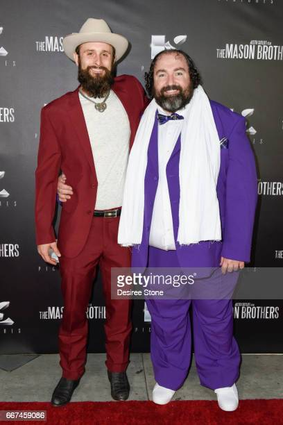 """Matt Webb and Steve Bethers attend the premiere of """"The Mason Brothers"""" at the Egyptian Theatre on April 11, 2017 in Hollywood, California."""