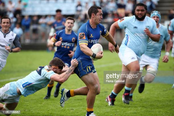 Matt Whaanga of Otago looks to pass during the round 10 Mitre 10 Cup match between Northland and Otago at Semenoff Stadium on October 13 2019 in...