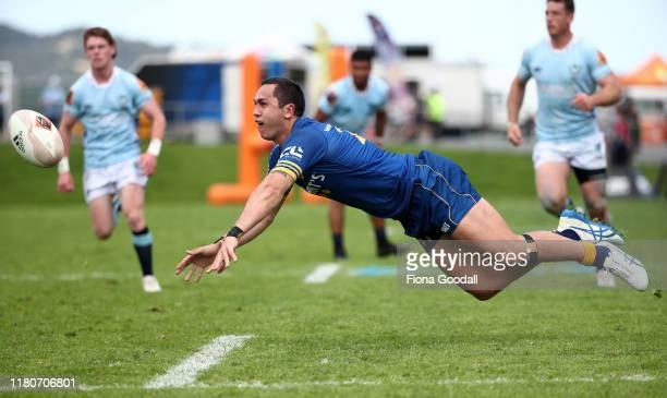 Matt Whaanga of Otago passes during the round 10 Mitre 10 Cup match between Northland and Otago at Semenoff Stadium on October 13 2019 in Whangarei...