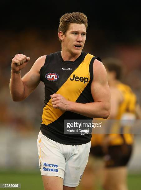 Matt White of the Tigers celebrates a goal during the round 19 AFL match between the Hawthorn Hawks and the Richmond Tigers at Melbourne Cricket...