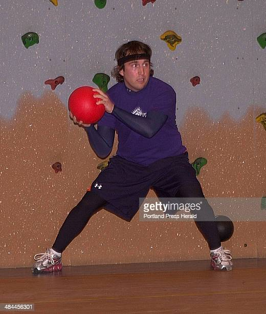 Gerry Brown assumes a classic dodgeball stance that opens dodge throw or block opportunities during a recent coed game organized through Casco Bay...