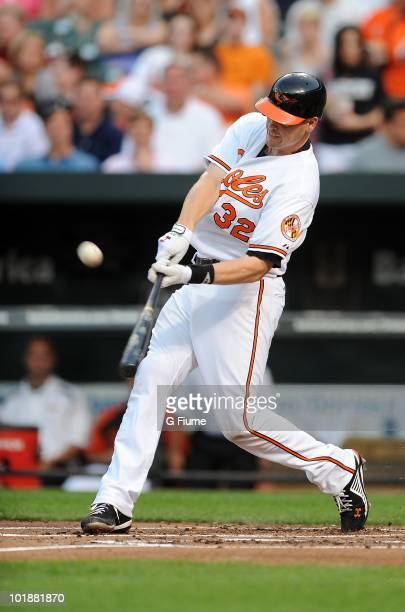 Matt Wieters of the Baltimore Orioles bats against the Oakland Athletics at Camdem Yards on May 26 2010 in Baltimore Maryland