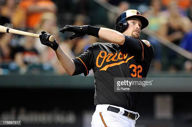 Matt Wieters of the Baltimore Orioles bats against the Seattle Mariners at Oriole Park at Camden Yards on August 2 2013 in Baltimore Maryland