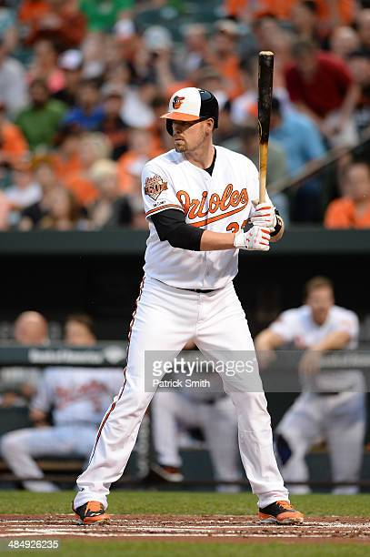 Matt Wieters of the Baltimore Orioles bats against the Tampa Bay Rays at Oriole Park at Camden Yards on April 14 2014 in Baltimore Maryland The...