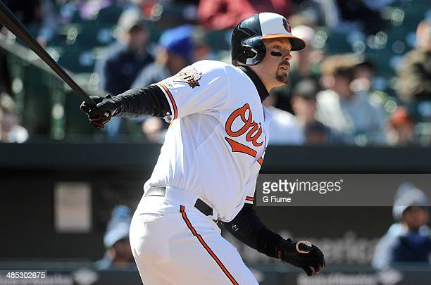 Matt Wieters of the Baltimore Orioles bats against the Tampa Bay Rays at Oriole Park at Camden Yards on April 16 2014 in Baltimore Maryland All...