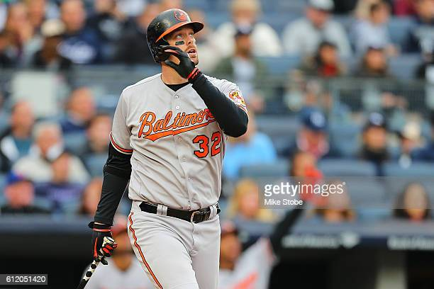 Matt Wieters of the Baltimore Orioles connects on a tworun home run in the fourth inning against the New York Yankees at Yankee Stadium on October 2...
