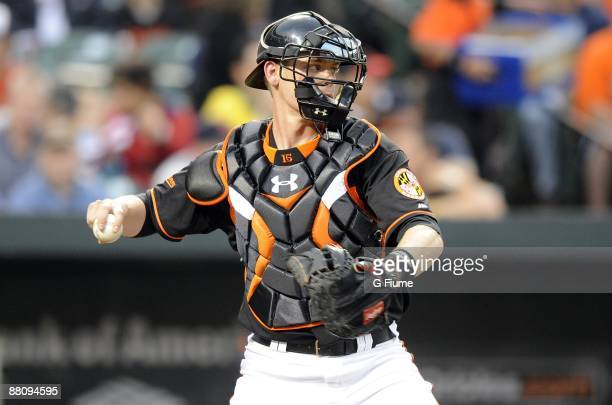 Matt Wieters of the Baltimore Orioles throws the ball to second base against the Detroit Tigers on May 29, 2009 at Camden Yards in Baltimore,...