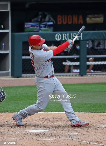 Matt Wieters of the St. Louis Cardinals bats against the Chicago White Sox at Guaranteed Rate Field on August 15, 2020 in Chicago, Illinois.