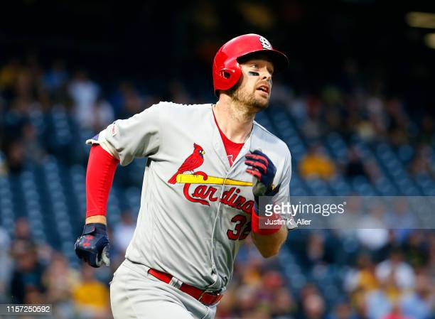 Matt Wieters of the St. Louis Cardinals runs the bases after hitting a solo home run in the third inning against the Pittsburgh Pirates at PNC Park...