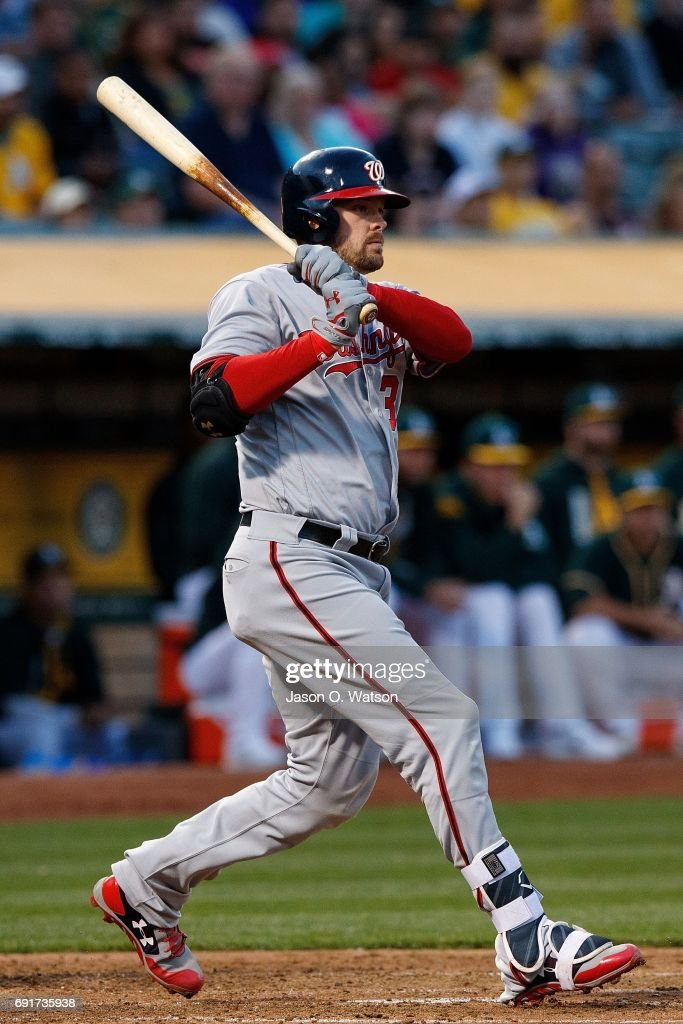 Matt Wieters #32 of the Washington Nationals hits an RBI double against the Oakland Athletics during the fourth inning at the Oakland Coliseum on June 2, 2017 in Oakland, California. The Washington Nationals defeated the Oakland Athletics 13-3.