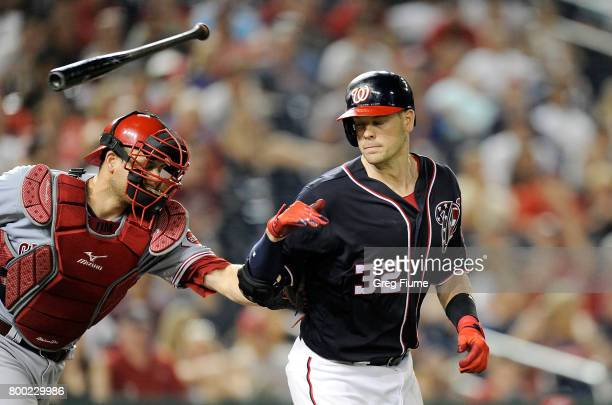 Matt Wieters of the Washington Nationals is tagged out by Devin Mesoraco of the Cincinnati Reds after striking out in the ninth inning at Nationals...