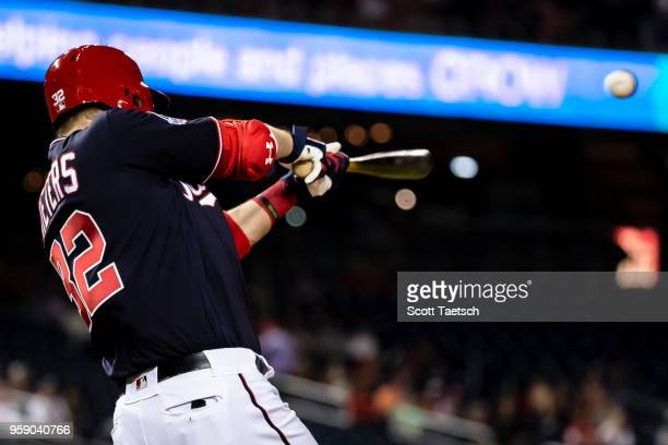 Matt Wieters of the Washington Nationals lines out against the Pittsburgh Pirates at Nationals Park on May 1 2018 in Washington DC