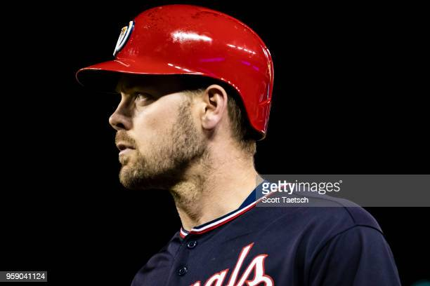 Matt Wieters of the Washington Nationals looks on during the sixth inning against the Pittsburgh Pirates at Nationals Park on May 1 2018 in...
