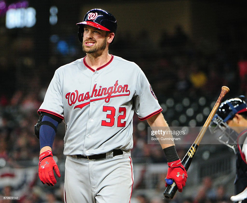 Matt Wieters #32 of the Washington Nationals reacts after striking out in the fourth inning against the Atlanta Braves at SunTrust Park on April 20, 2017 in Atlanta, Georgia.