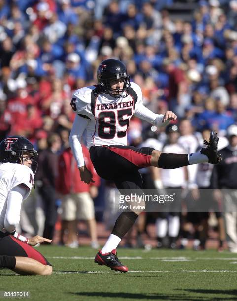 Matt Williams of the Texas Tech Red Raiders kicks a point after against the Kansas Jayhawks at Memorial Stadium on October 25 2008 in Lawrence Kansas