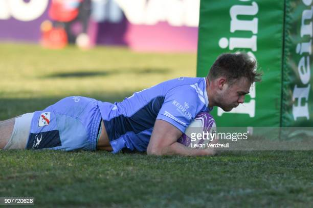 Matt Williams socres a try for London Irish during the European Rugby Challenge Cup match between Krasny Yar and London Irish at Avchala Stadium on...