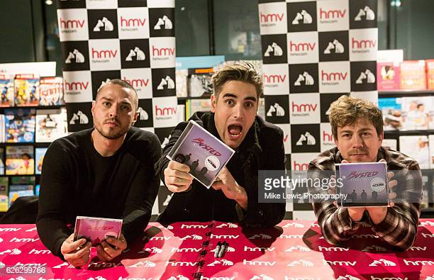 Matt Willis Charlie Simpson and James Bourne of Busted meet fans and sign copies of their new album 'Night Driver' at HMV Cardiff on November 28 2016...