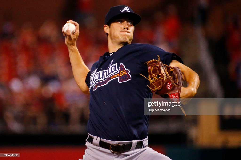 Matt Wisler #45 of the Atlanta Braves delivers a pitch against the St. Louis Cardinals in the eighth inning at Busch Stadium on June 30, 2018 in St. Louis, Missouri.