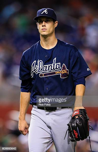Matt Wisler of the Atlanta Braves looks on during the game against the Miami Marlins at Marlins Park on September 23 2016 in Miami Florida