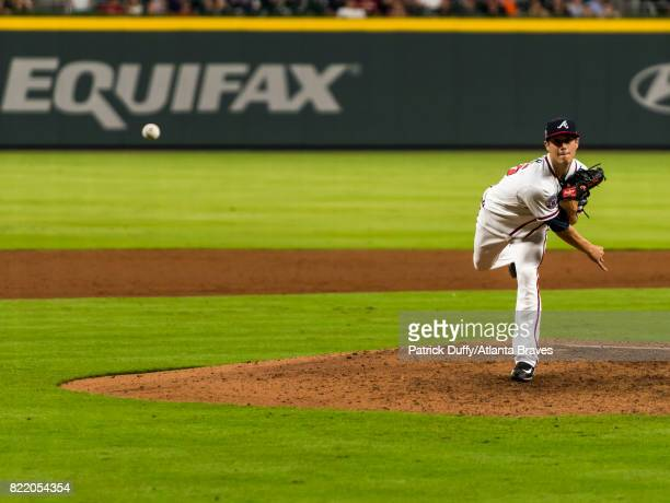 Matt Wisler of the Atlanta Braves pitches against the Houston Astros at SunTrust Park on July 5 2017 in Atlanta Georgia The Astros won 104