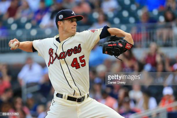 Matt Wisler of the Atlanta Braves pitches during the first inning against the New York Mets at SunTrust Park on June 10 2017 in Atlanta Georgia