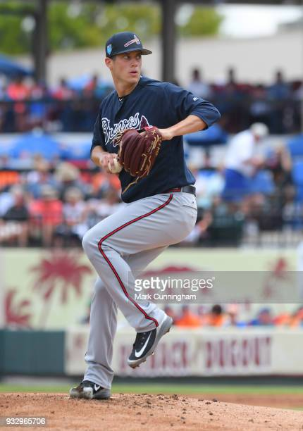 Matt Wisler of the Atlanta Braves pitches during the Spring Training game against the Detroit Tigers at Publix Field at Joker Marchant Stadium on...