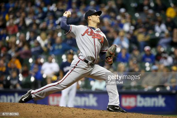 Matt Wisler of the Atlanta Braves pitches in the eighth inning against the Milwaukee Brewers at Miller Park on April 29 2017 in Milwaukee Wisconsin