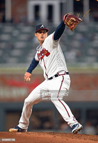 Matt Wisler of the Atlanta Braves throws a secondinning pitch against the New York Mets at SunTrust Park on April 19 2018 in Atlanta Georgia