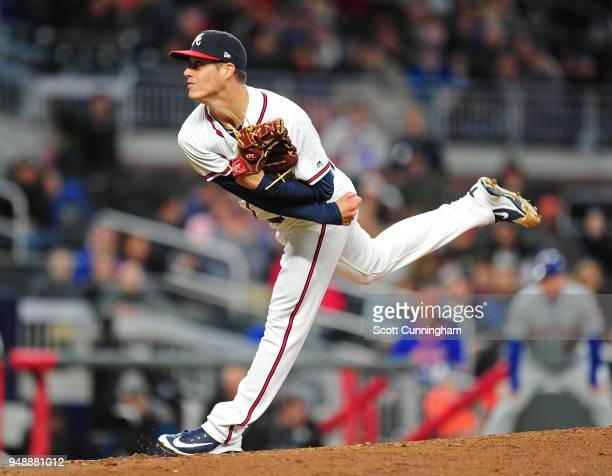Matt Wisler of the Atlanta Braves throws a sixthinning pitch against the New York Mets at SunTrust Park on April 19 2018 in Atlanta Georgia