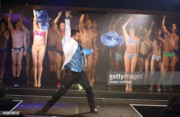 Matt Zarley and dancers performing at Broadway Bares Winter Burlesque Calendar Girl at XL Nightclub on January 26 2014 in New York City