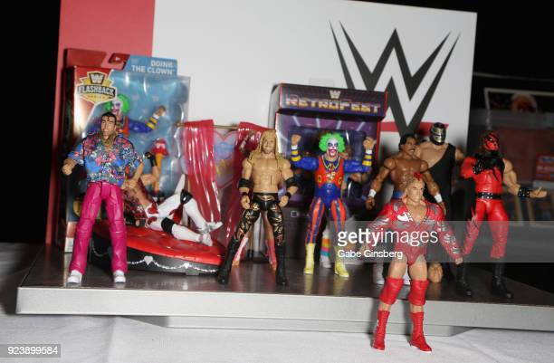 Mattel WWE Elite Action Figure display is seen during Vegas Toy Con at the Circus Circus Las Vegas on February 24 2018 in Las Vegas Nevada