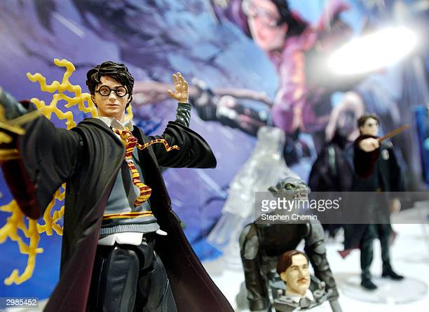 Mattel's Harry Potter action figures are displayed at the Mattel showroom February 15 2004 at the 2004 Toy Fair in New York City The American...