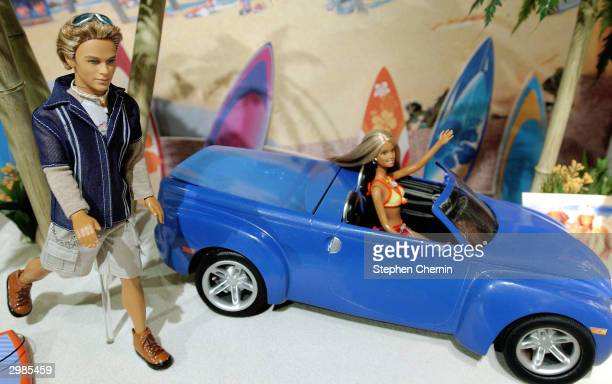 Mattel's newly introduced Blaine and California Girl Barbie are displayed at the Mattel showroom February 15 2004 at the 2004 Toy Fair in New York...