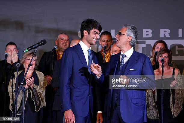 Matteo and Andrea Bocelli attend the Basilica di Santa Croce Dinner and Reception as part of Celebrity Fight Night Italy benefitting the Andrea...